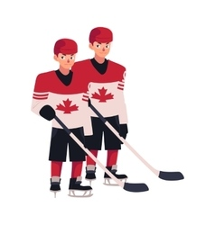 Two hockey players in canadian uniform standing vector