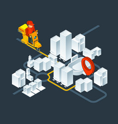 urban 3d map navigation isometric map vector image