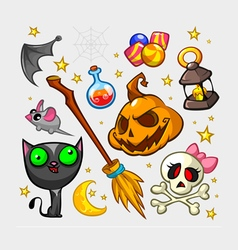 V ectorHalloween pumpkin and attributes icons vector image