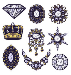 vintage colored jewelry elements set vector image