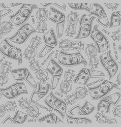 Vintage monochrome money seamless pattern vector