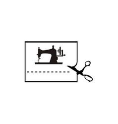 Vintage sewing machine logo vector
