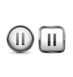 Web 3d buttons pause glass icons vector