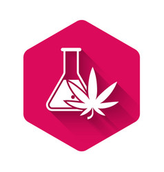 white chemical test tube with marijuana or vector image