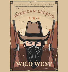 Wild west western bandit and rifle carbine vector