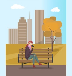 Woman lady talking on mobile phone on bench vector
