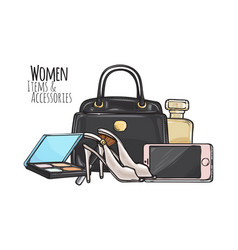 women items and accessories dark female objects vector image