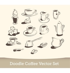 coffee doodle set isolated on white background vector image