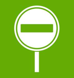 no entry sign icon green vector image vector image