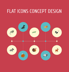 Flat icons gobbler rooster hound and other vector