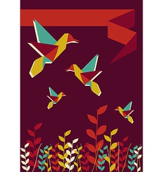 Origami hummingbird spring time vector image vector image
