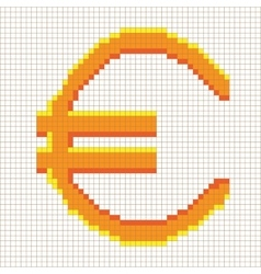 Sign pixel euro gold in grid 607 vector image vector image