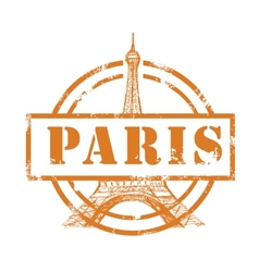 stamp with Eiffel Tower vector image vector image