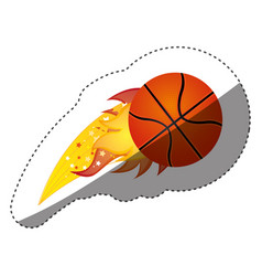 Sticker colorful olympic flame with basketball vector