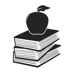 Apple on the books vector
