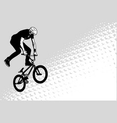 bmx cyclist sketch on abstract halftone background vector image vector image