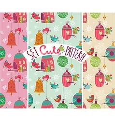 Christmas birds pattern vector image vector image