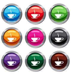 cup of tea set 9 collection vector image vector image