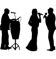 singer and drummer vector image