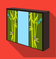 wardrobe with mirror and green doors the place vector image vector image