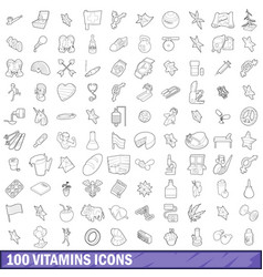 100 vitamins icons set outline style vector image