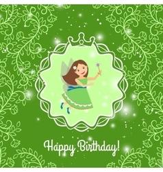 Beautiful cartoon princess on greeen background vector image vector image