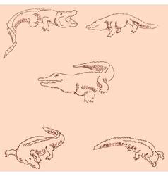 Crocodiles sketch pencil drawing by hand vector