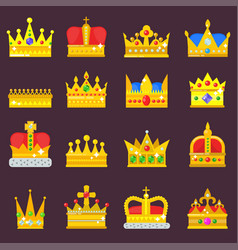 crown set golden royal jewelry symbol of vector image
