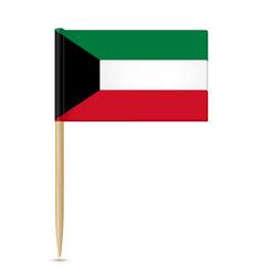 flag of kuwait flag toothpick on white background vector image