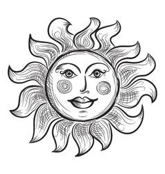 Hand Drawn Sun Symbol vector image