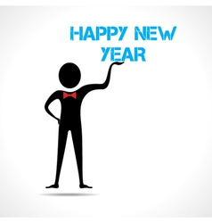 Man holding happy new year text vector image