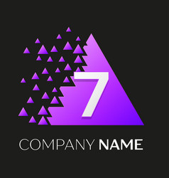 number seven logo in the colorful triangle vector image