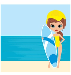 pretty girl with a surfboard vector image vector image
