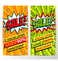 sale web banners set of pop art comic sale vector image vector image