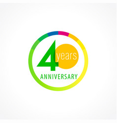 40 anniversary circle logo gi vector image