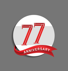 77 anniversary with white circle and red ribbon vector