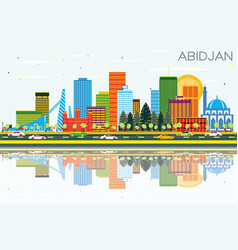 Abidjan ivory coast city skyline with color vector