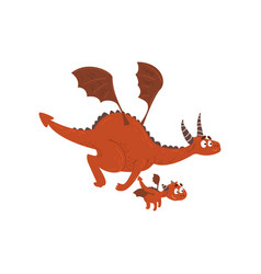 Adult dragon and small baby dragon flying mother vector