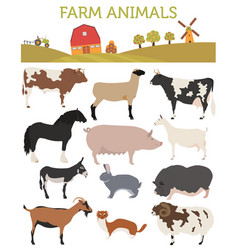 Animal farming livestock cattle pig goat ship vector