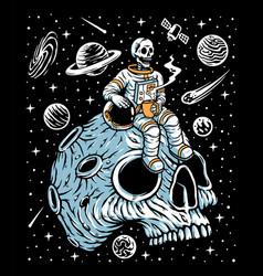 Astronauts drinking coffee on skull planet vector