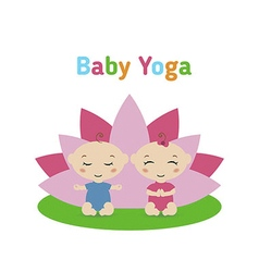 Baby is doing yoga and sitting in the lotus positi vector image