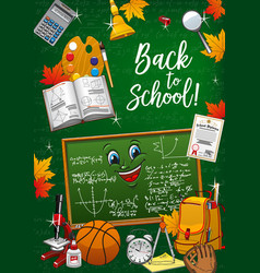 back to school student supplies and chalkboard vector image
