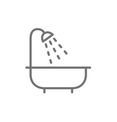 Bath bathroom bathtub shower line icon vector