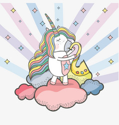 Beautiful unicorn play saxophone instrument vector