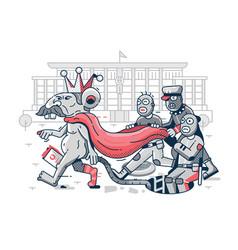 Belarus dictator political caricature in line art vector