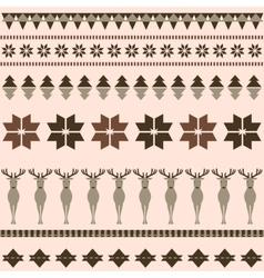 Brown winter ornamental pattern with deer vector image