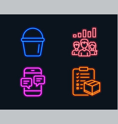 Bucket teamwork results and phone messages icons vector