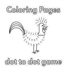 Cartoon rooster coloring book vector