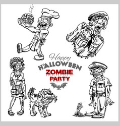 cartoon zombie set isolated on white vector image