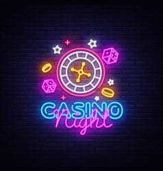 casino night neon logo casino neon sign vector image